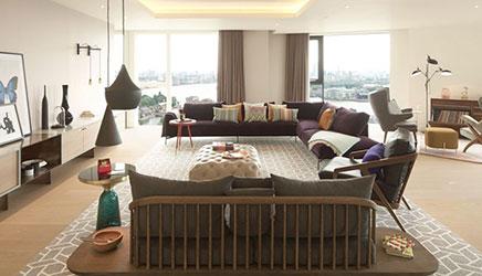 Herinrichting van een penthouse woonkamer inrichting for Departamentos elegantes decoracion
