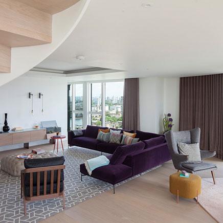 Herinrichting van een penthouse woonkamer
