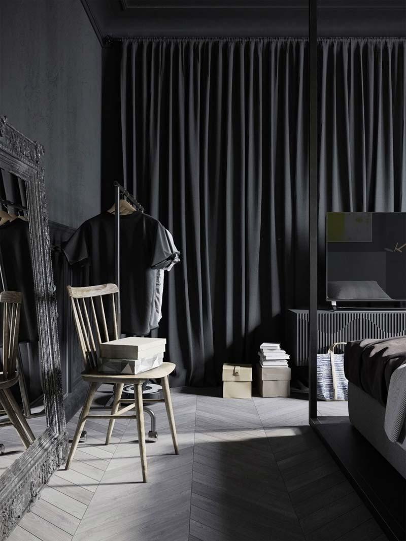 De houten Hongaarse punt vloer in een stoere donkere slaapkamer.