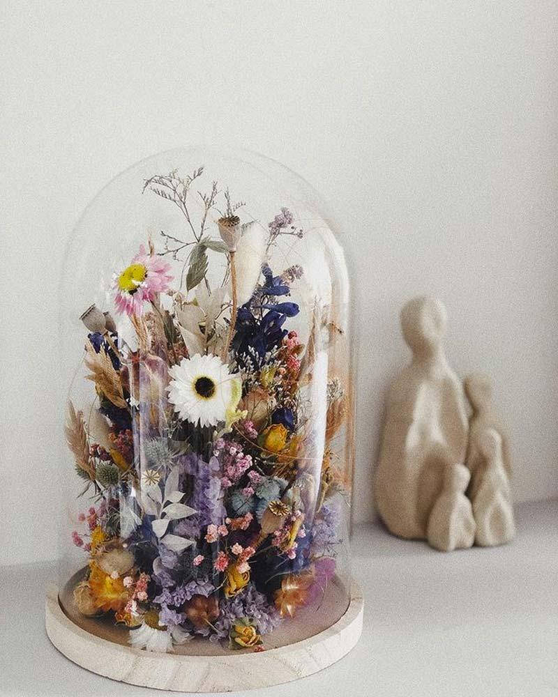 housewarming cadeau glazen stolp droogbloemen