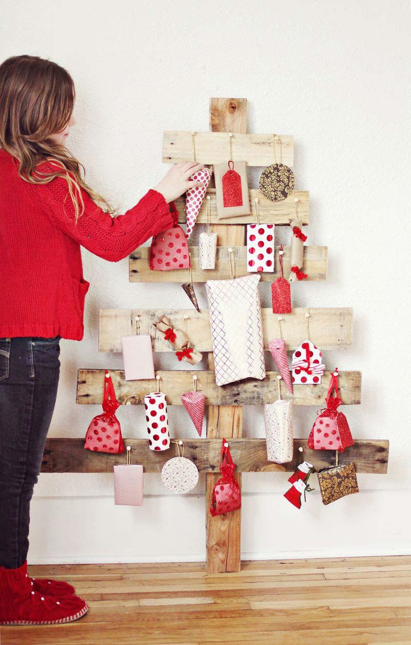 Houten kerstboom maken adventkalender