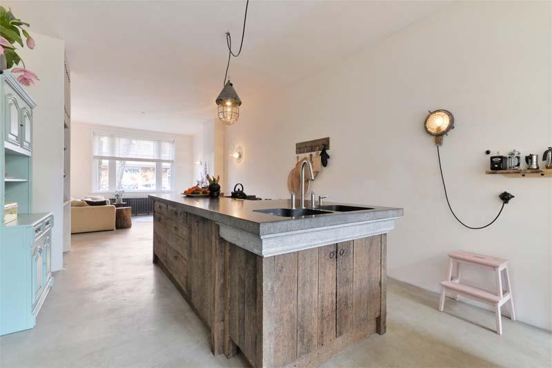 houten keuken betonnen werkblad