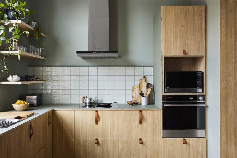 houten keuken groen linoleum werkblad