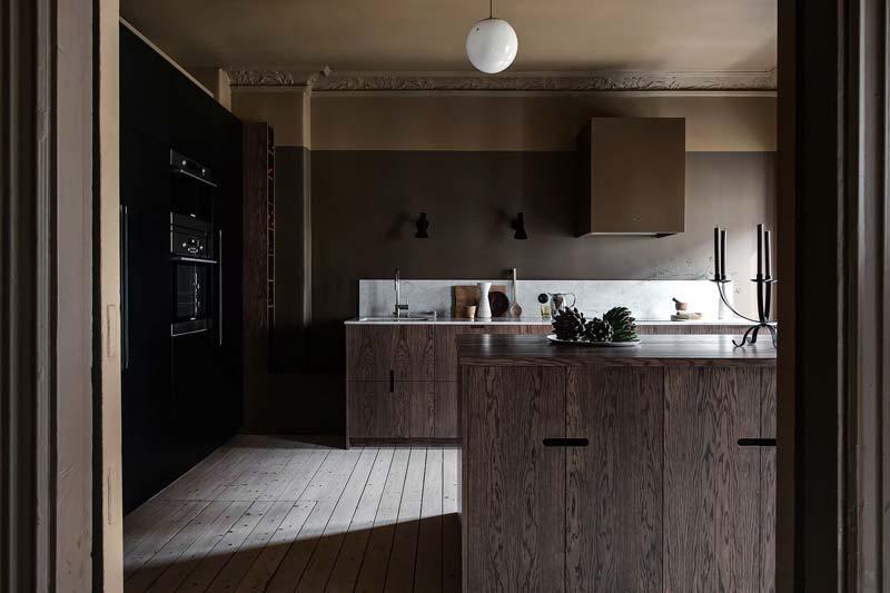 houten keuken marmeren werkblad
