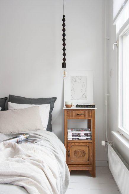Houten kralen hanglamp