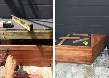 Houten planken voor tuinbank