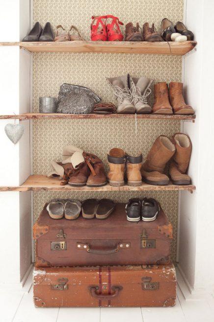 Houten planken voor schoenen