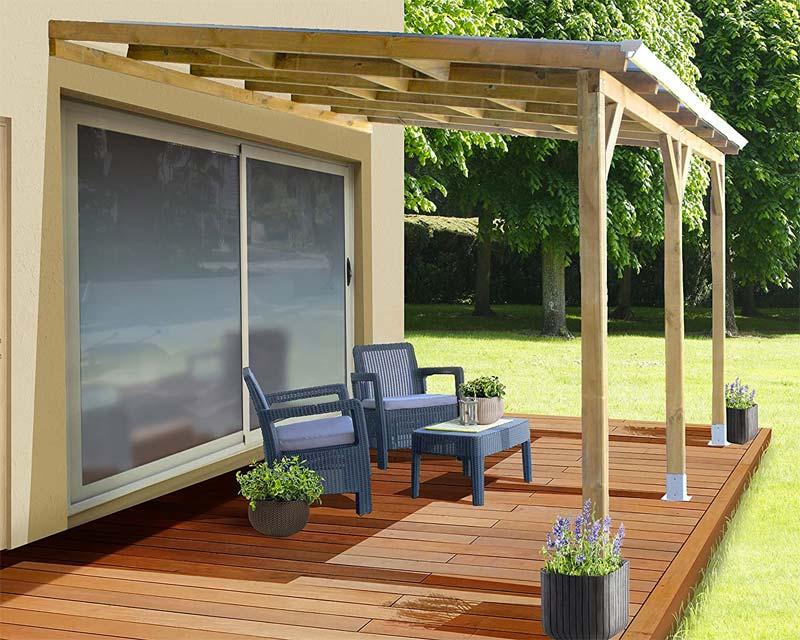 houten tuinoverkapping maken boven terras