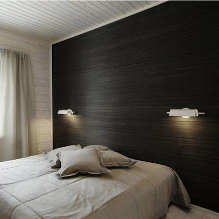 Holzwand in Schlafzimmer