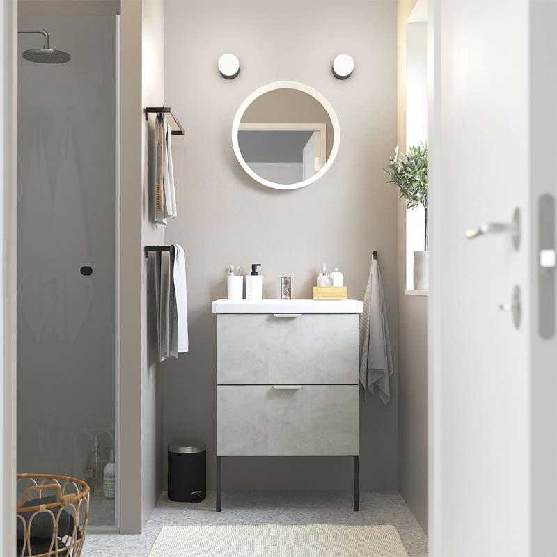ikea enhet badkamermeubel dicht betonlook