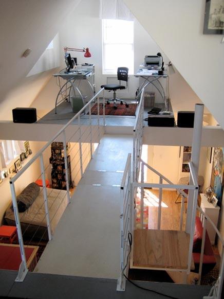Industriële inrichting van een huis in New York