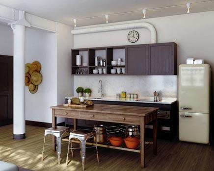 Industrielle Küche mit einem klassischen Touch