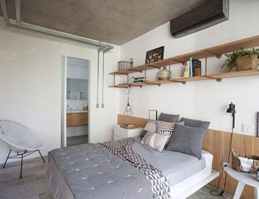 Industriële slaapkamer met een inloopkast én badkamer