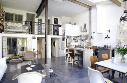 Industriële vintage huis inrichting in Parijs