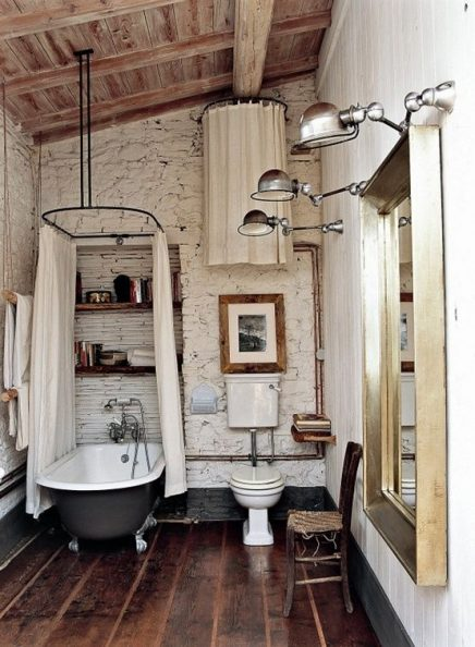 Industriële wandlampen badkamer