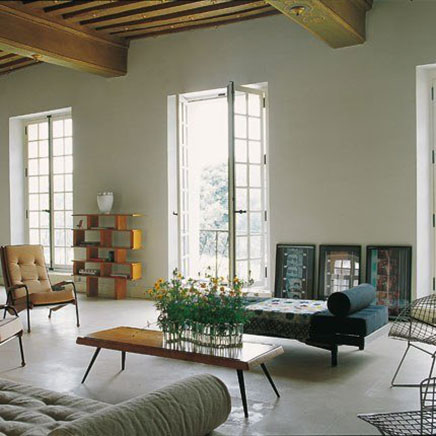 Industri le woonkamer van appartement in parijs Woonkamer industrieel