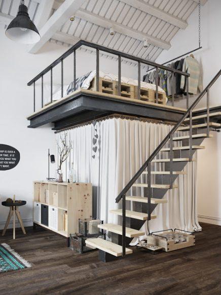 Inloopkast onder mezzanine inrichting - Mezzanine woonkamer ...
