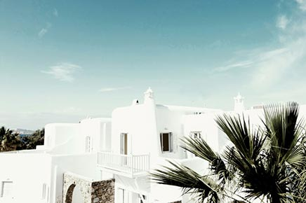 Interieur inrichting van het San Giorgio Hotel Mykonos
