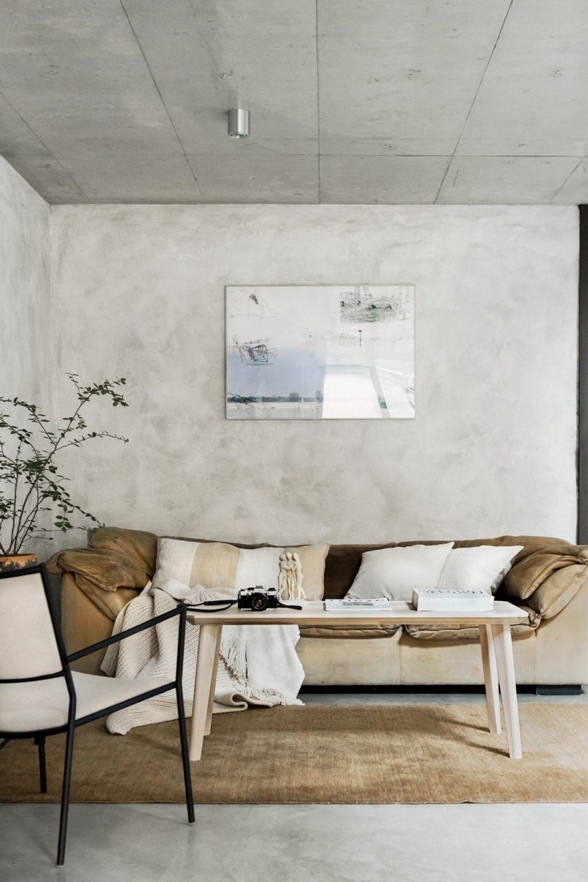 Het interieur van deze woning is volledig bewerkt met betonstuc!