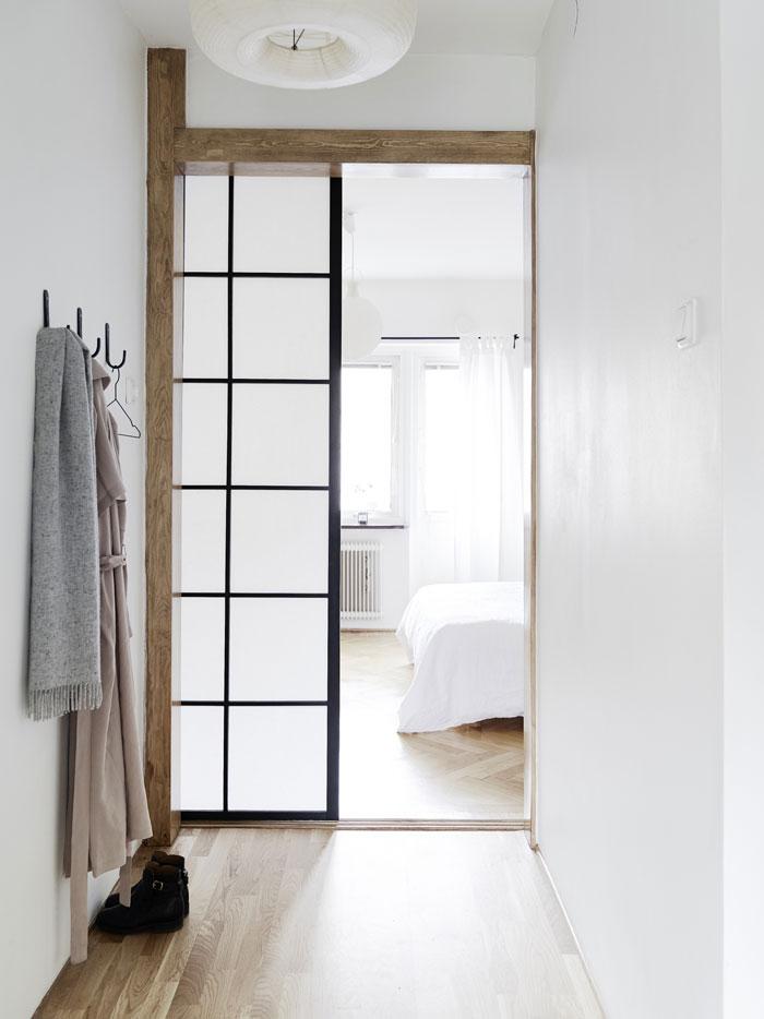 slaapkamer met een mix van scandinavische en japanse stijl