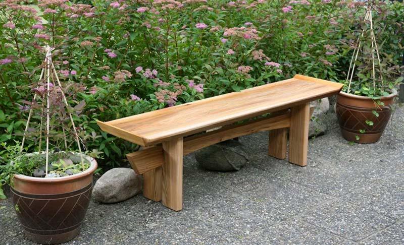 japanse tuin houten bankje