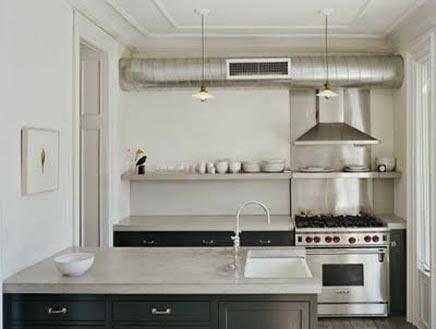 Keuken met betonnen aanrechtblad