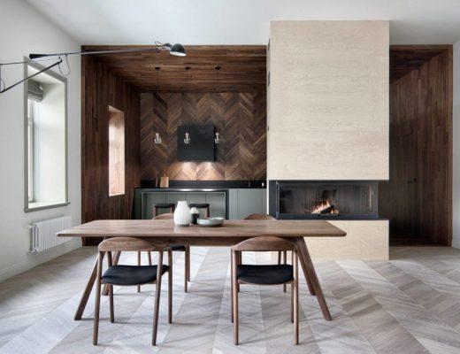 Keuken met houten houten vloer-, plafond-, en wandbekleding