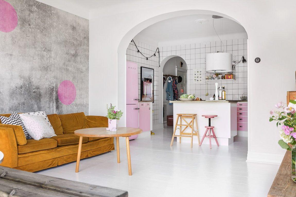 Subtiele Pasteltinten Interieur : Neem een kijkje in dit huis met een subtiel pastel roze interieur