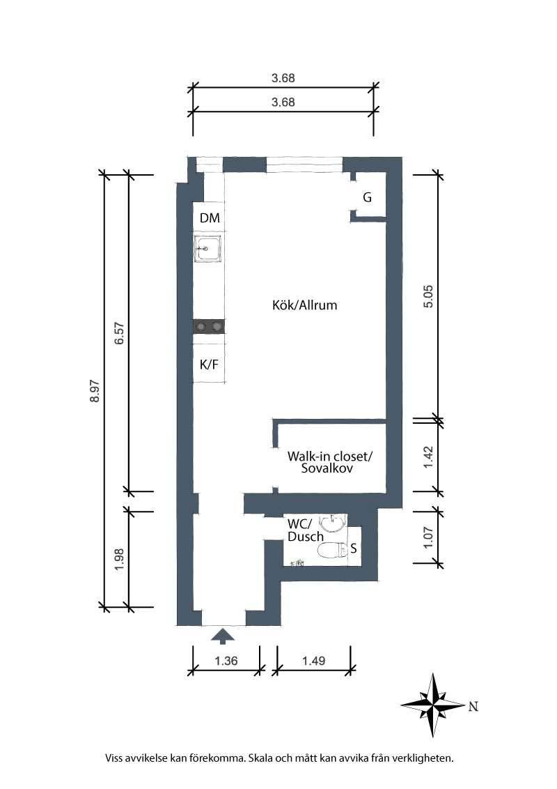 klein appartement 23m2 plattegrond