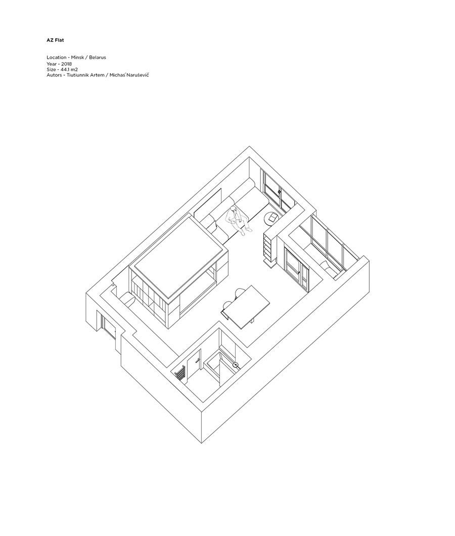 klein appartement 44m2 plattegrond