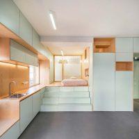 Klein appartement van 34m2 met een mintgroen interieur