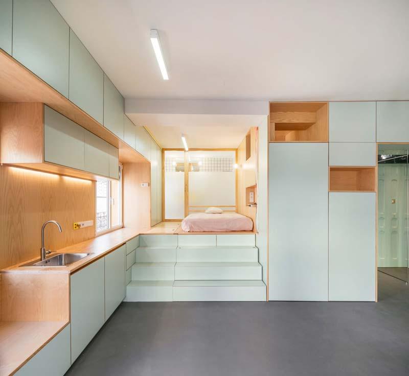 Klein appartement mintgroen interieur