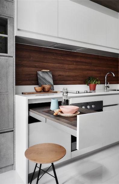 Kleine keuken uitschuifbare werktafel