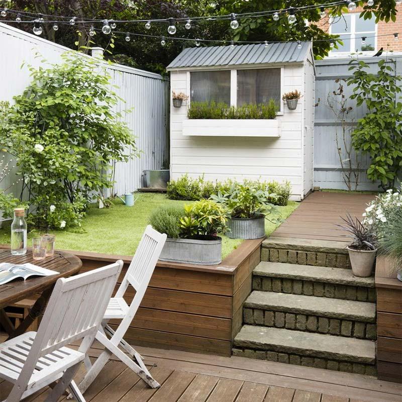 kleine tuin ideeën verschillende niveaus