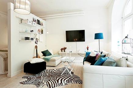 Kleine woonkamer delen met slaapkamer