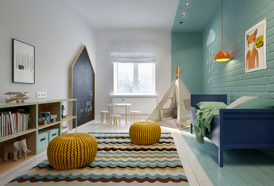 kleurvlakken in de kinderkamer inrichting huiscom
