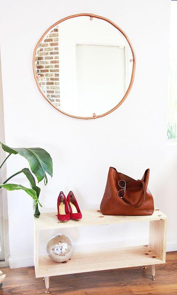 koperen buizen ronde spiegel