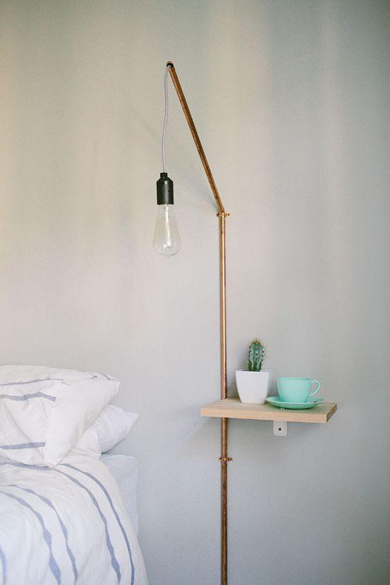 koperen buizen wandlamp