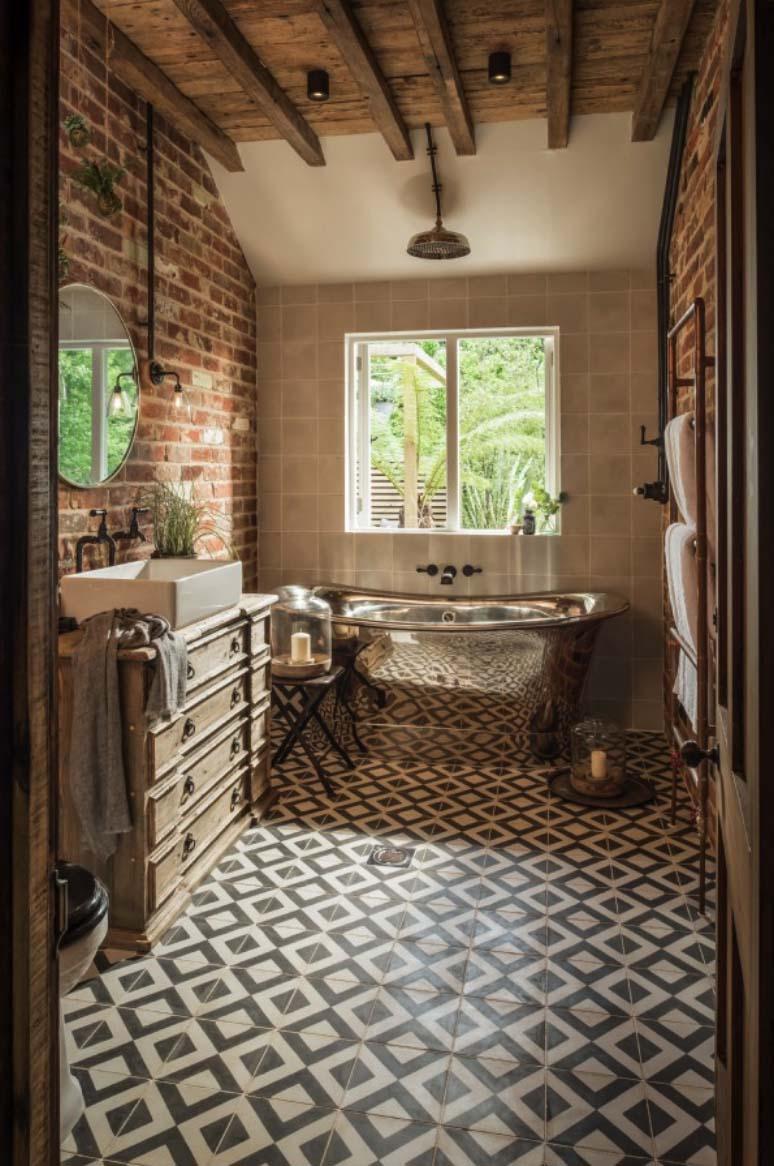 landelijk interieur inspiratie bakstenen muur metalen bad