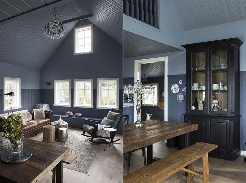 landelijk interieur inspiratie blauwe muren