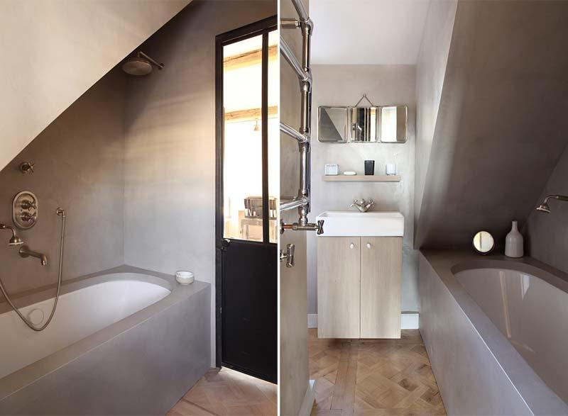 landelijk interieur inspiratie landelijke badkamer betonstuc muren