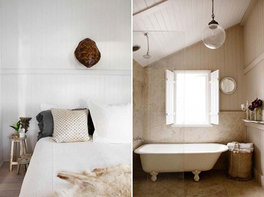 landelijk interieur inspiratie landelijke badkamer vrijstaand bad houten raamluiken