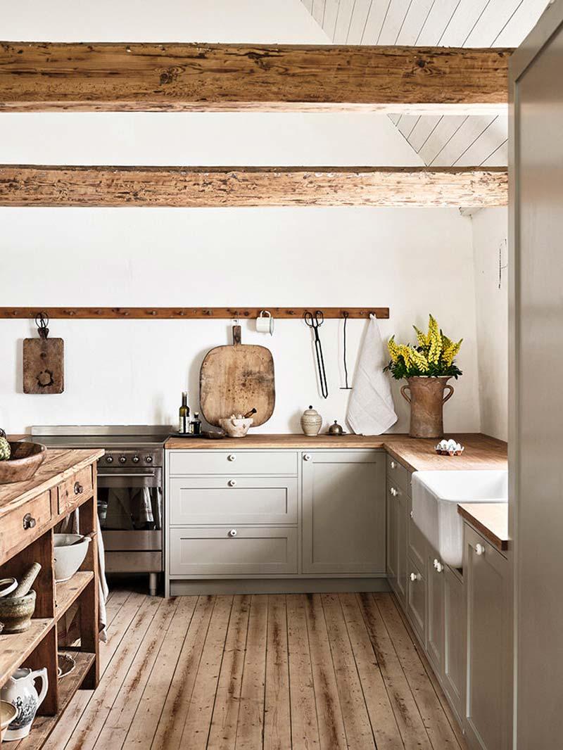 landelijke taupe keuken houten werkblad