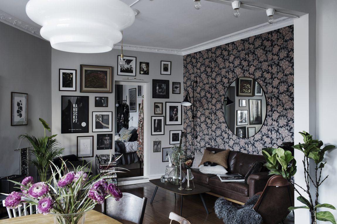 leuk woonkamer behang bloemetjes patroon