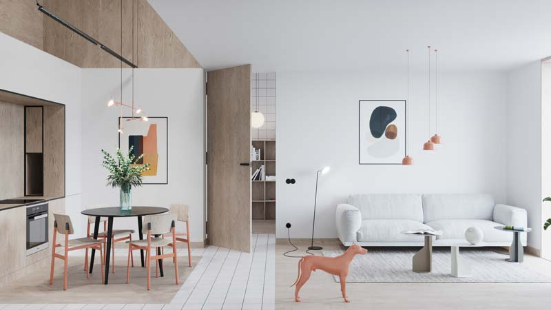 Leuke speelse woning met houten details en Scandinavisch design