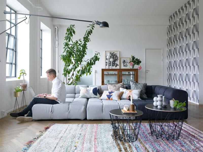 leuke woonkamer behang geometrisch patroon