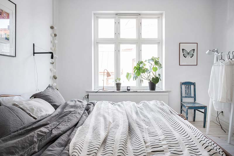 lichte Scandinavische slaapkamer