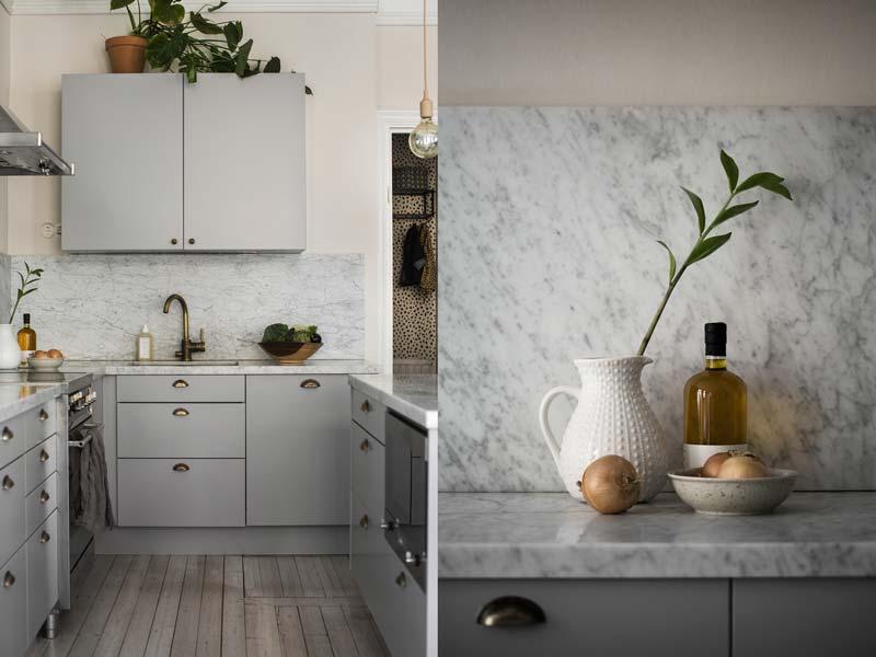 lichtgrijze keuken marmeren werkblad