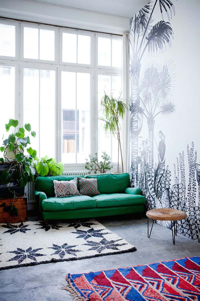 loft woonkamer zwart wit jungle behang
