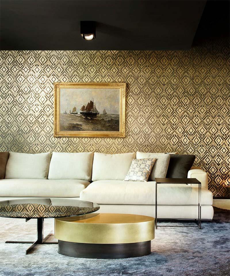luxe woonkamer goud behang